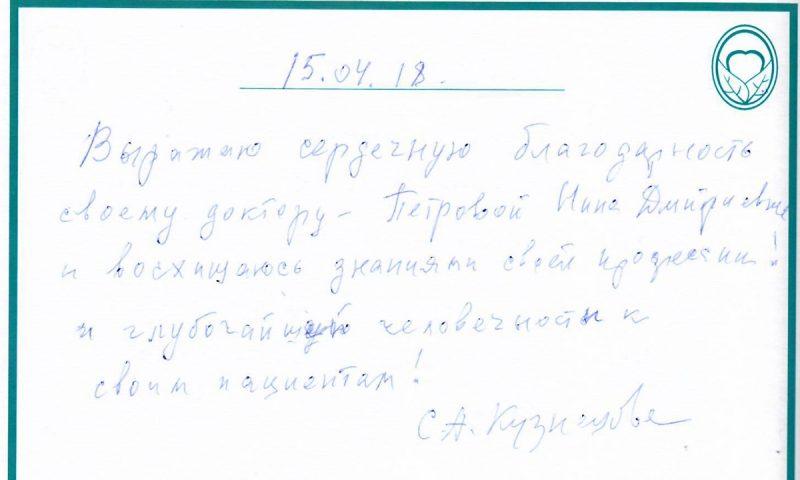 Отзыв о стоматологии 180415 Кузнецова