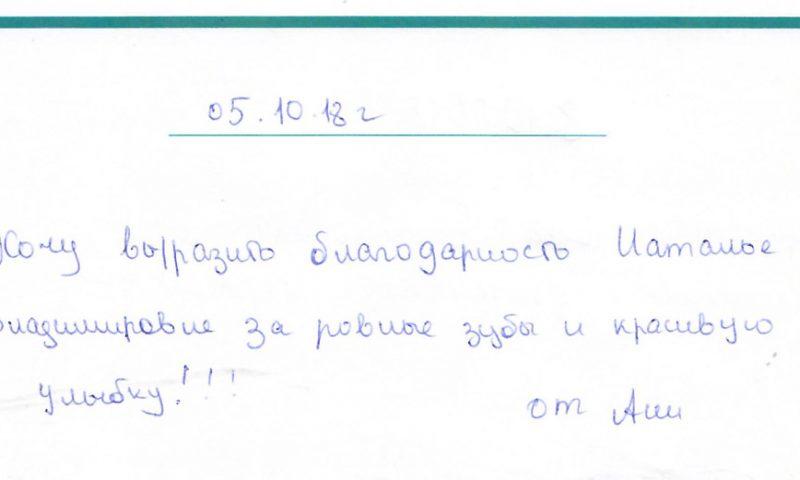 Отзыв о стоматологии 181005 Аня